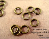 100 Antique Bronze Jump Rings 4mm Plated Iron 21 Gauge NF 4mm Outside - 100 pc - F4003JR-AB4mm100 - Select Qty
