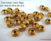 25 Antique Gold Flat Spacer Bead 5mm Round Saucer LF/CF - 25 pc - M7043-AG25 - Select Qty