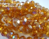 50 Honey Glass Bead AB Faceted Abacus 6x4mm - 50 pc - G6026-HY50