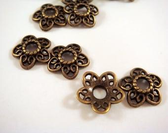 12 Antique Bronze Flower Bead Caps LF/NF/CF 12x11.5mm Large Hole Tibetan Silver - 12 pc - F4152BC-AB12