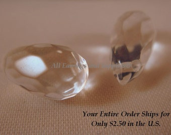 2 Clear Crystal Beads Teardrop 13x7mm - 2 pc - 1505