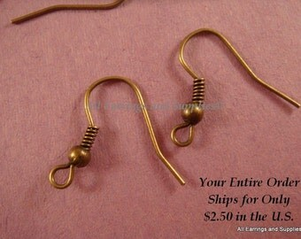 20 Antique Bronze Earwire Fishhook Ball Coil Iron 18mm Ear Wires - 20 pc - F4015EW-AB20