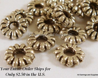 25 Silver Spacer Bead Ribbed Tibetan Style Antique Silver 6.5mm - 25 pc - M7006-AS6mm25