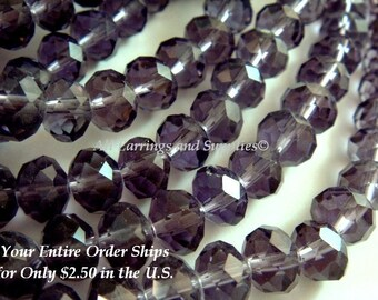 36 Amethyst Glass Rondelle Bead Faceted Purple Abacus 8x6mm - 36 pc - G6021-PP36
