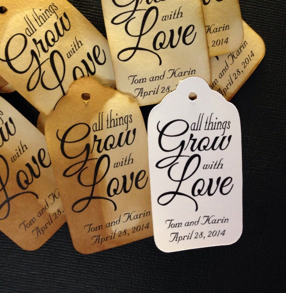 All Things Grow With Love 100  SMALL Personalized Favor Tags