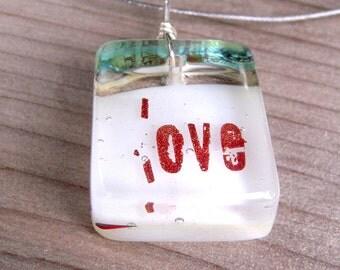 Fused Glass Love Pendant