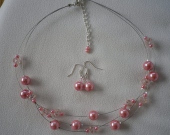 SALE Dusty Rose Floating Pearls and Crystals Necklace and Earrings