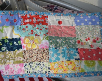 Quilted Vintage Modern Scrappy Feed Sack Bright Cheery Floral Table Runner Table Mat Dresser Mat Coin Quilt Cottage Style Shabby Chic