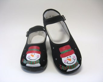 Snowman Shoes, Christmas Outfit, Black Mary Jane's Hand Painted for Baby and Toddler