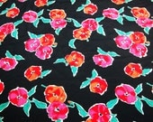 RESERVED vintage 80s rayon fabric, featuring pink and orange floral print, 2 yards