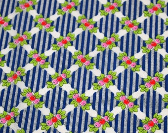 vintage 70s crepe fabric, featuring adorable berries and lattice print, 1 yard, 3 available priced PER YARD