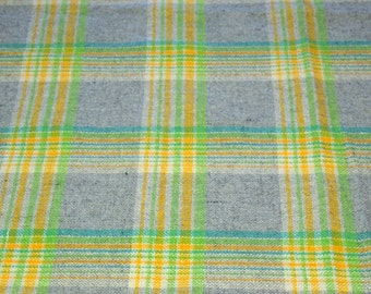 vintage 60s acrylic fabric, featuring great yellow, green and white on grey plaid design, 1 yard, 6 inches