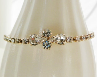 Vintage .. Czech Rhinestone Silvertone Bracelet Clear, vintage bride, wedding, bridal party