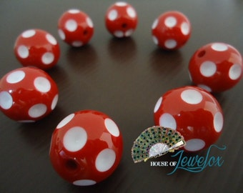 Big Round Red Polka Dot Acrylic Beads, 20mm - 8x