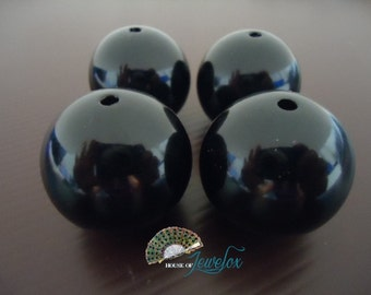 30mm HUGE Round BLACK Resin Beads - 4x