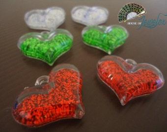 Glitter Heart Love Pendants, Acrylic, Glitter - 6x