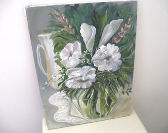 Vintage Painting on Canvas Floral Still Life - White Flowers - Oil or Acrylic