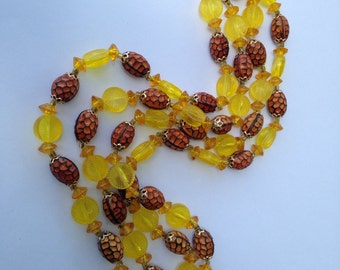 Vintage Sunflower Yellow Bead Necklace