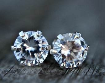 ON SALE - Cubic zirconia earrings - faux diamond earrings - sterling silver stud earrings - posts - gemstone - diamond studs