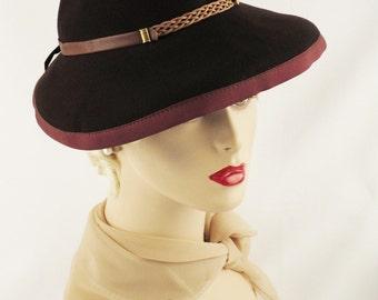 1940s Hat Brown Felt Tilt Slouch Fedora Sz 21 Sportster