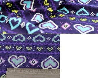 3828 - Heart Cotton Jersey Knit Fabric - 68 Inch (Width) x 1/2 Yard (Length)