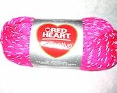 Red Heart Reflective yarn, Bright NEON PINK bulky weight yarn, glow in the dark yarn