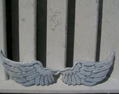 Baby Angel Wings Small Distressed Grey, White and Baby Blue with Pearl Sheen Sweet Cherub Wings Wall Hanging