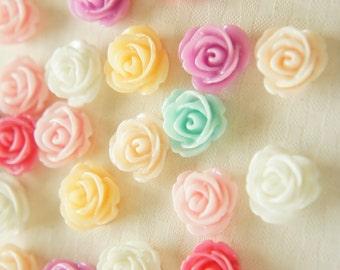 14 pcs Lovely Color Rose Cabochon (14mm) FL377