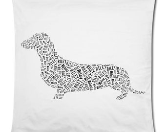 Personalized Dachshund Doxie Pillow Cover Pillowcase Home Decor Bed Cushion