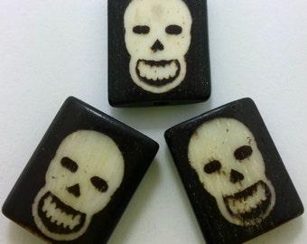 SALE - Two-Tone Bone Skull Beads - Set of Three