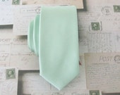 Mens Tie. Dusty Mint JCrew Inspired Dusty Shale Green Pastel Green Dusty Green Skinny Tie With Matching Pocket Square Option