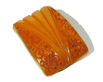 Vintage 30s Bakelite Dress Clip Art Deco Carved Butterscotch & Brass Brooch
