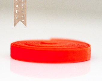Bulk 10 yd roll of Bright orange Velevet Ribbon