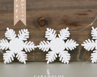 """6 Glittered White Snowflake Ornaments 2"""""""