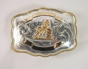 Ladies Vintage 80s Mexico Rodeo Riding Belt Buckle Mexico