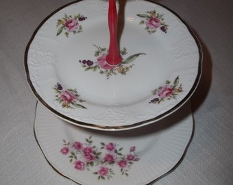 Rosina Roses -2 Tier Serving Tray - Crudites - Party Tray - Hors doeuvres - Centerpiece