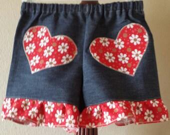 Country Heart Girls Denim Shorts