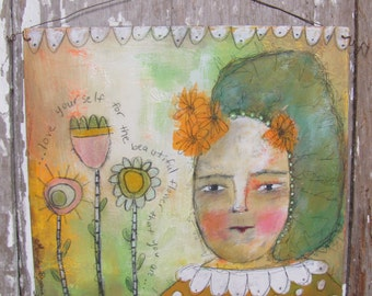 SALE Love Yourself Original Mixed Media Painting PFATT