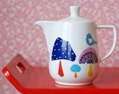 RESERVED SALE! Bird and mushrooms small/medium sized teapot