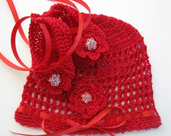 Newborn Baby Hat Booties Set Crochet Infant Girl Crib Shoes and Bonnet Crochet Baptism Baby Hat Booties Set Christening Baby Cap Reborn Doll