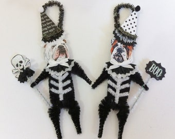 Bulldog SKELETON Halloween vintage style CHENILLE ORNAMENTS set of 2