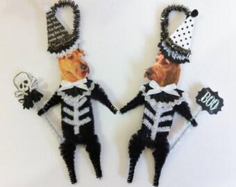 Irish Terrier SKELETON Halloween vintage style CHENILLE ORNAMENTS set of 2