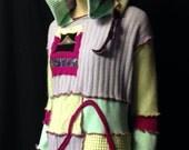 Cashmere Sweater Recycle Reuse Repurpose Hoodie Sherbet Tunic Soft Hippie Boho Fantasy Pixie Wearable Fiber Art Woman Appliqué Pastel