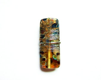 TORTOISE LUXE      pale topaz, neutral frit, and metallic lustre kalera focal    A Beaded Gift