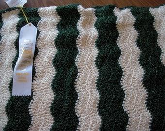 Cream and Green Ripple Crochet Afghan