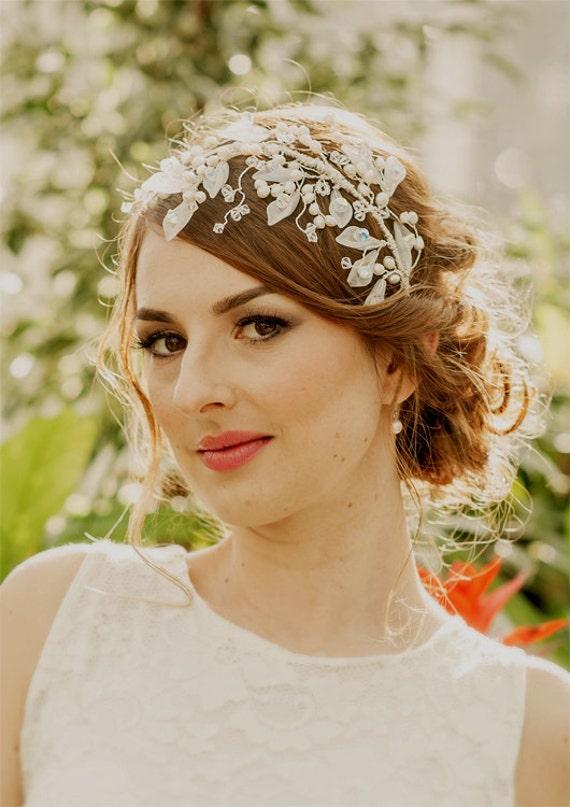 WEDDING  Bridal headband, CARLA with pearls crystals and semi precious stones, made to order, Calla lily, SWAROVSKI