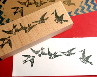 Diving Swallow Bird Border Rubber Stamp - Handmade rubber stamp by BlossomStamps
