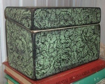 Recipe Box Mint Greenwith Black Flourish and a Distressed  and Cottage Chic