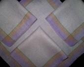 Vintage 50s Lavender Linen Napkins Set 4