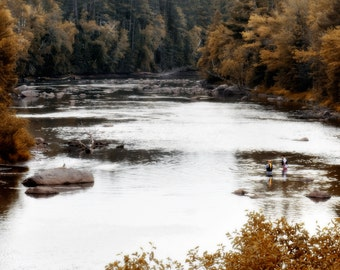 Photograph on Metallic Paper - Fall Fishing: 12'' x 8""